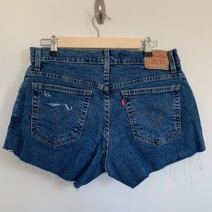 Levi's Cutoff Distressed Denim Shorts  12